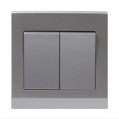 Simplicity Grey Screwless Rocker Light Switch 2 Gang 1 Way Pulse/Retractive 07102